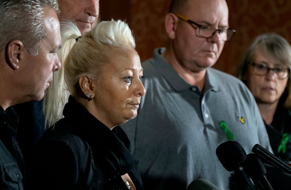 PHOTO: Charlotte Charles, mother of Harry Dunn, who died after his motorbike was involved in an August 2019 accident in Britain with Anne Sacoolas, wife of an American diplomat, speaks at a news conference Monday, Oct. 14, 2019, in New York.