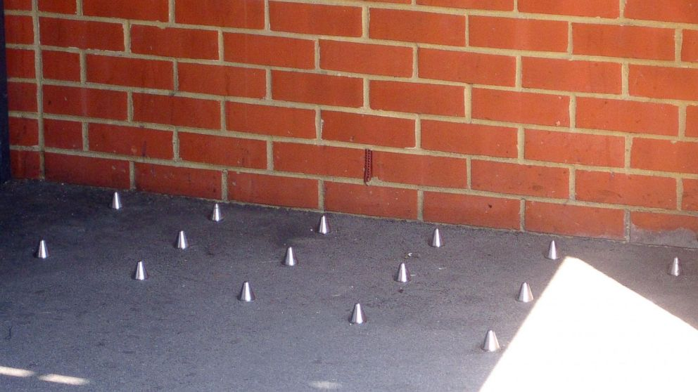 Metal spikes in the ground outside 118 Southwark Bridge Road, London, after Mayor Boris Johnson weighed into the row about the spikes, which were installed to prevent homeless people sleeping outside a London building.