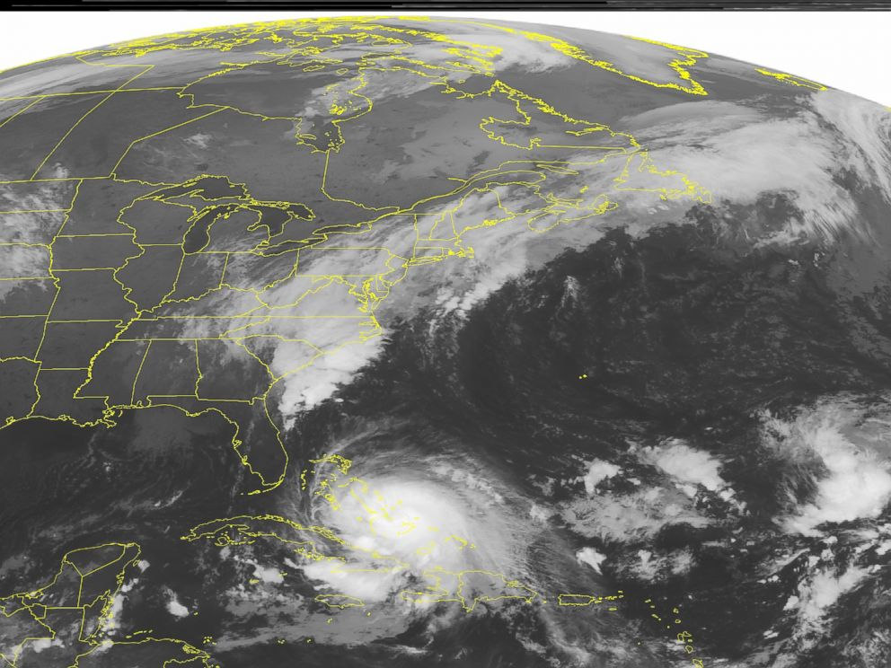 PHOTO: This NOAA satellite image shows a powerful Category 4 Hurricane Joaquin crawling through the Bahamas, Oct. 2, 2015.