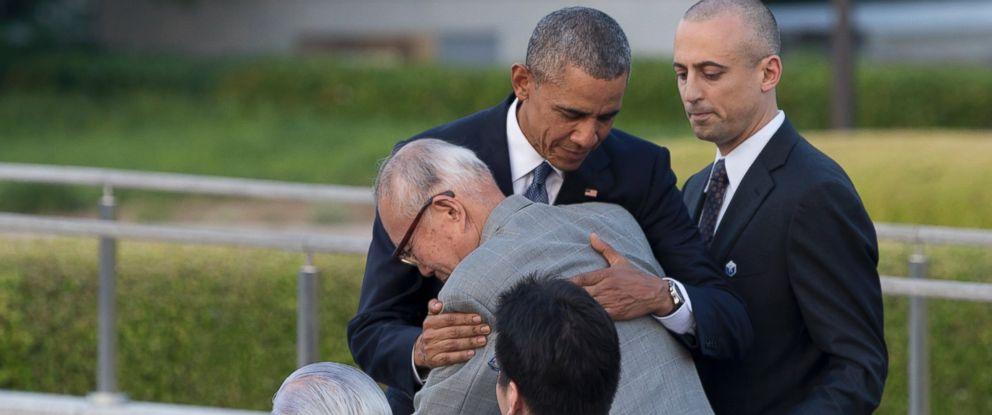 PHOTO: President Barack Obama hugs Shigeaki Mori, an atomic bomb survivor; creator of the memorial for American WWII POWs killed at Hiroshima, during a ceremony at Hiroshima Peace Memorial Park in Hiroshima, western Japan, May 27, 2016.