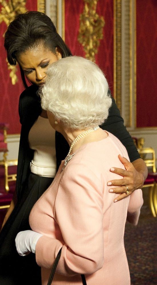 PHOTO: Former first lady Michelle Obama meets with Britains Queen Elizabeth II at the reception at Buckingham Palace in London, April 1, 2009.