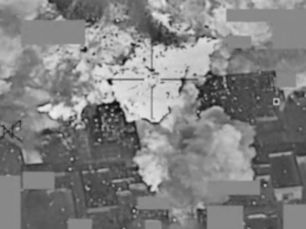 PHOTO: This image made from Jan. 11, 2016 video released by the U.S. military shows an airstrike targeting an Islamic State group cash and finance distribution center near Mosul, Iraq.