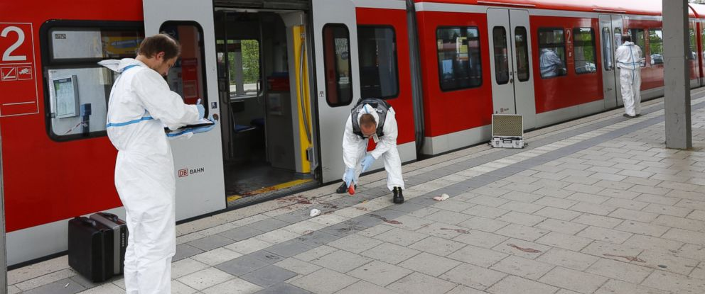 PHOTO: Police investigate the scene of a stabbing at a station in Grafing near Munich, Germany, Tuesday, May 10, 2016.