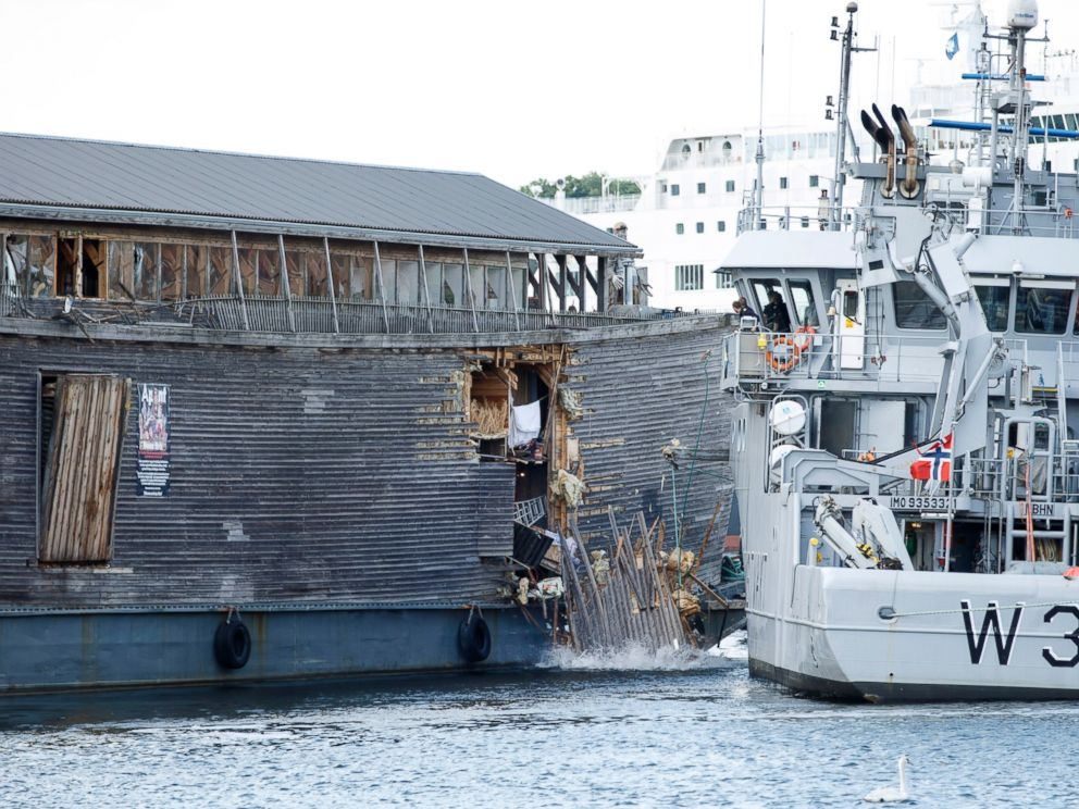 PHOTO: The damage of the hull of a wooden exhibition ship built as a representation of Noahs Ark after it crashed into a moored Coast Guard vessel in Oslo harbor, June 10, 2016, in Oslo.