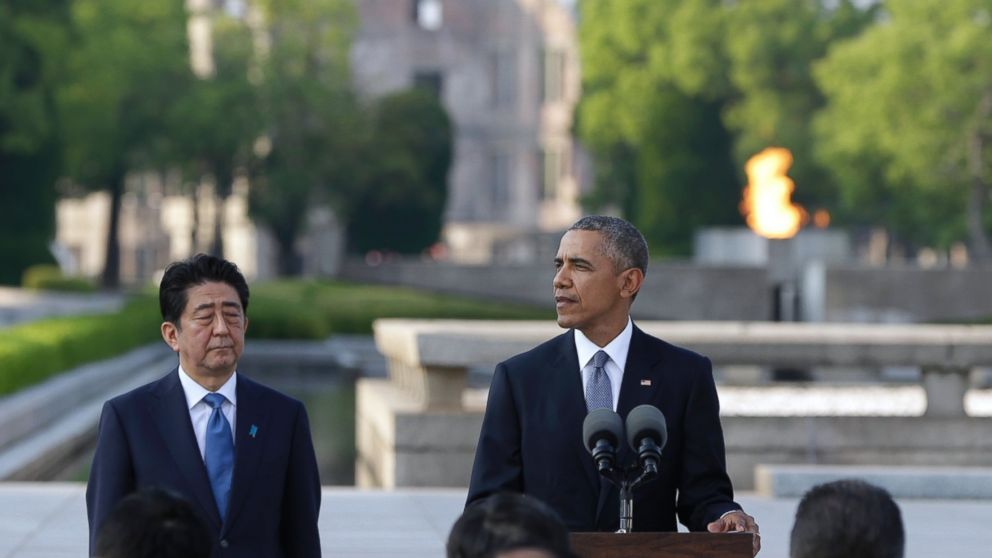 President Barack Obama delivers remarks next to Japanese Prime Minister Shinzo Abe at Hiroshima Peace Memorial Park in Hiroshima, western, Japan, May 27, 2016.