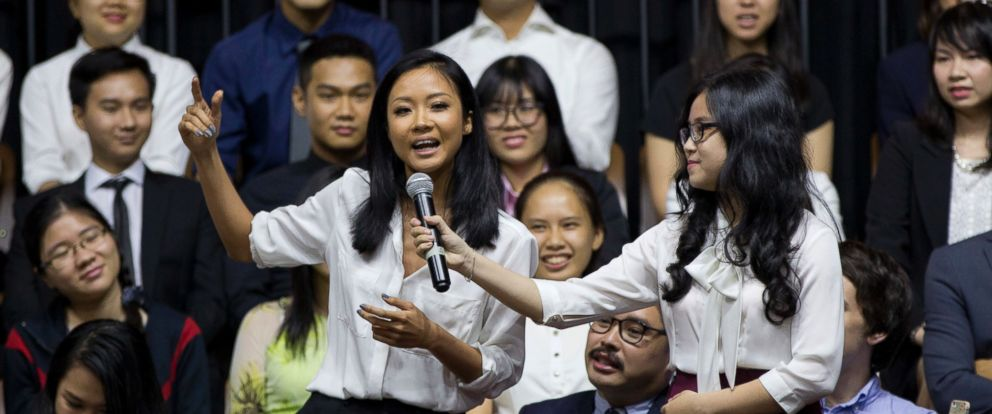PHOTO: Vietnamese rapper Suboi, left, raps during a town hall event hosted by U.S. President Barack Obama for the Young Southeast Asian Leadership Initiative (YSEALI) at the GEM Center in Ho Chi Minh City, Vietnam, Wednesday, May 25, 2016.