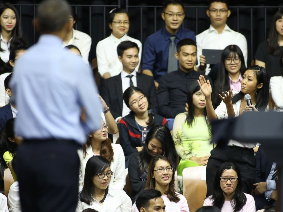 PHOTO: Vietnamese rapper Suboi, right, claps her hands and raps for U.S. President Barack Obama at a town-hall style event for the Young Southeast Asian Leaders Initiative at the GEM Center in Ho Chi Minh City, Vietnam, May 25, 2016.