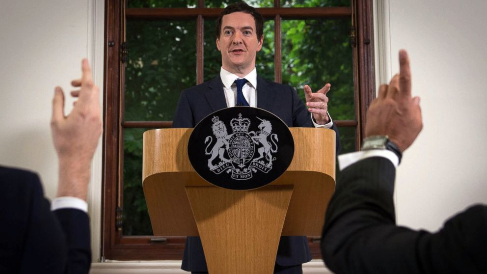 British Chancellor of the Exchequer George Osborne speaks during a press conference at The Treasury in London, June 27, 2016.