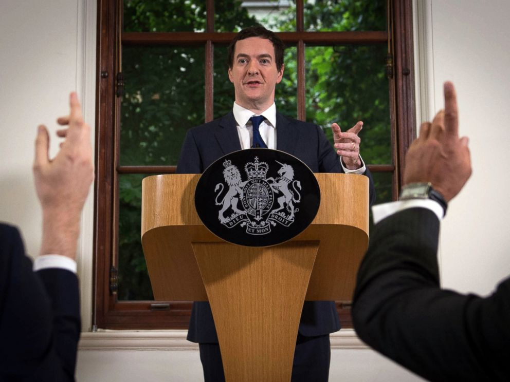 PHOTO: British Chancellor of the Exchequer George Osborne speaks during a press conference at The Treasury in London, June 27, 2016.