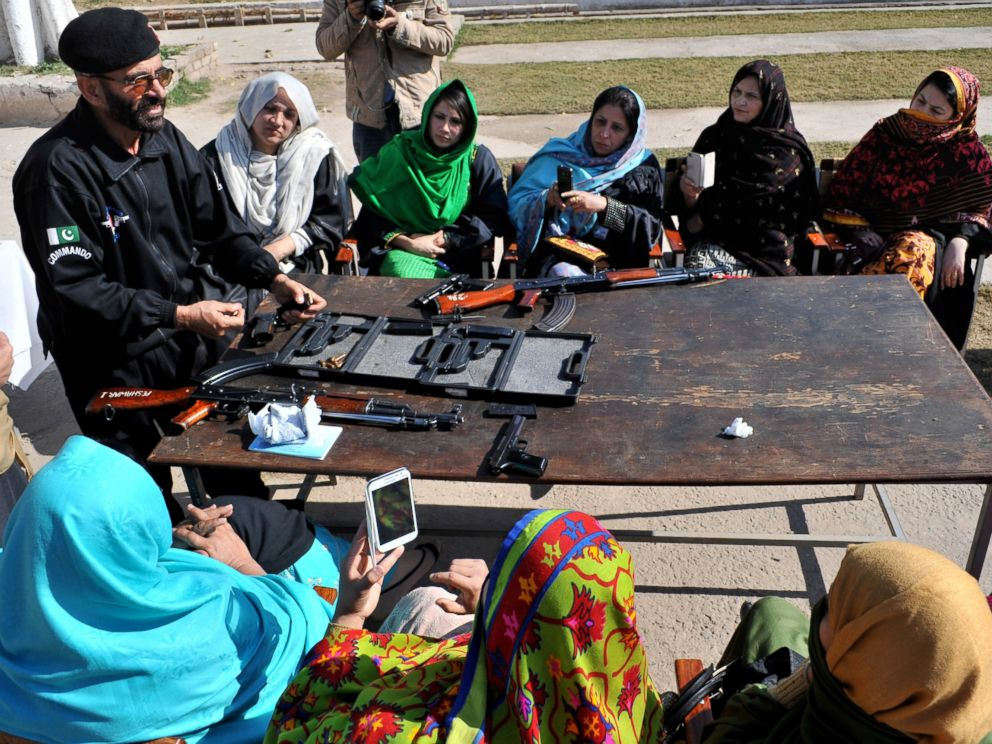 PHOTO: A Pakistani police commando gives weapons training to teachers in Peshawar Pakistan in this Jan. 27, 2015 file photo.
