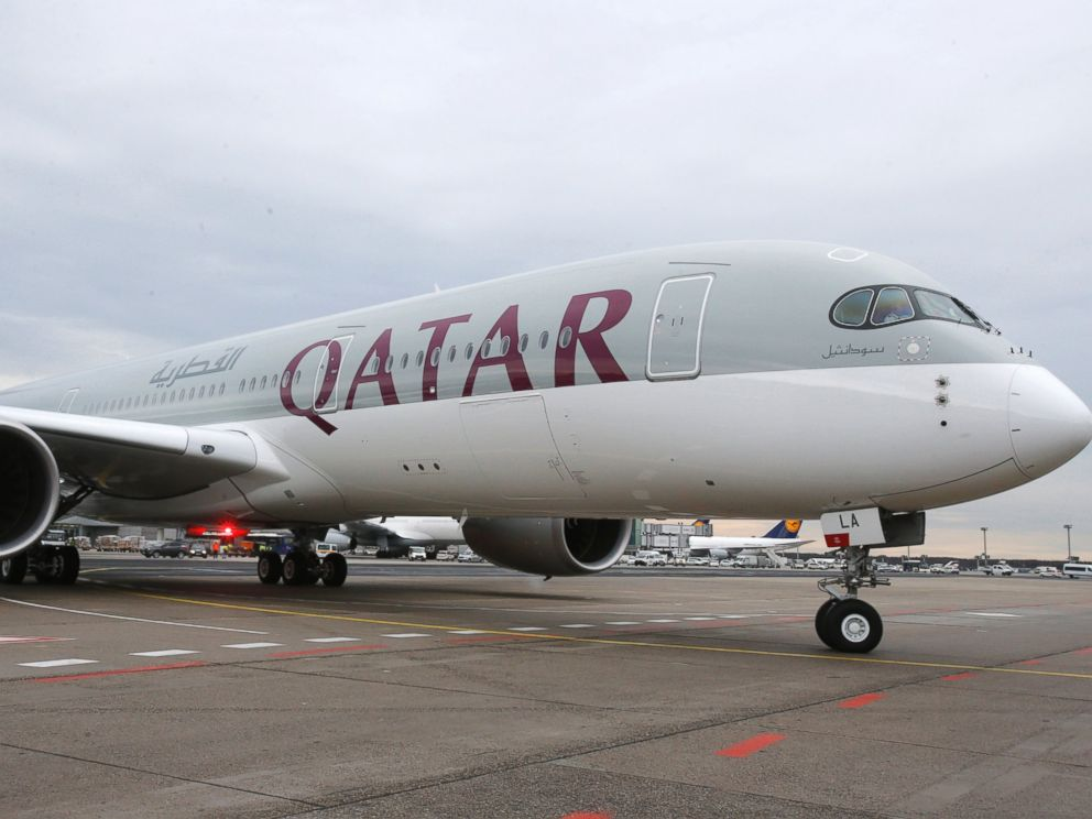 PHOTO: In this Jan. 15, 2015, file photo, a new Qatar Airways Airbus A350 approaches the gate at the airport in Frankfurt, Germany.