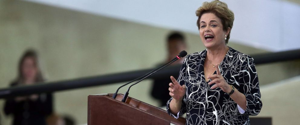 PHOTO: Brazil?s President Dilma Rousseff speaks during ceremony at the Planalto Presidential Palace, in Brasilia, Brazil, May 6, 2016.