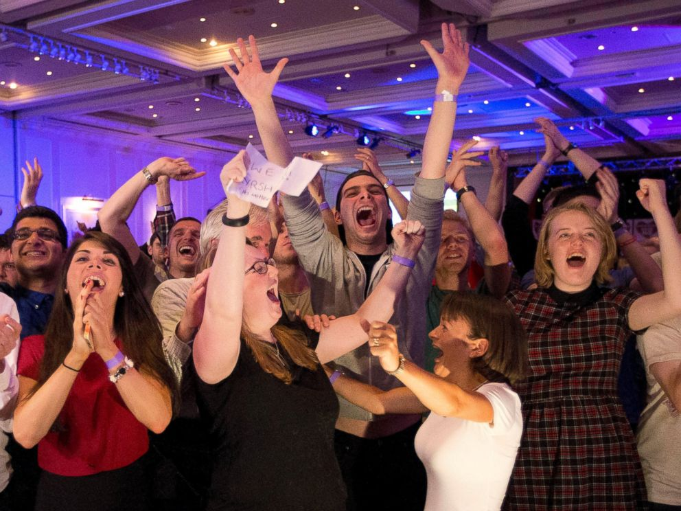 No supporters for the Scottish independence referendum celebrate a result at a No campaign event at a hotel in Glasgow, Scotland, early Friday, Sept. 19, 2014.