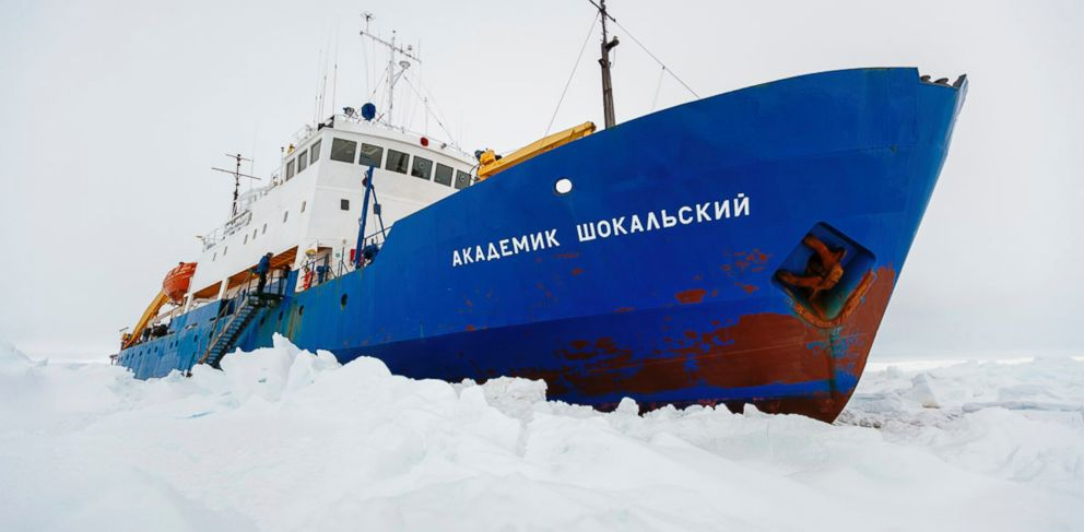 PHOTO: The Russian ship MV Akademik Shokalskiy is trapped in thick Antarctic ice 1,500 nautical miles south of Hobart, Australia, Dec. 27, 2013.