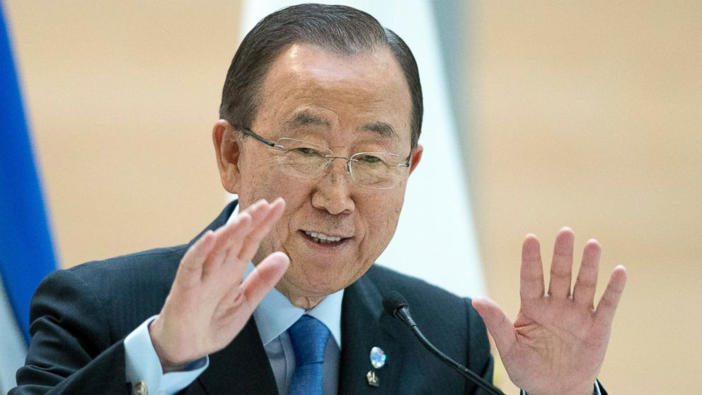 United Nations Secretary-General Ban Ki-moon speaks to University of Calgary students on International Youth Day in Calgary, Alberta, Aug. 12, 2016.