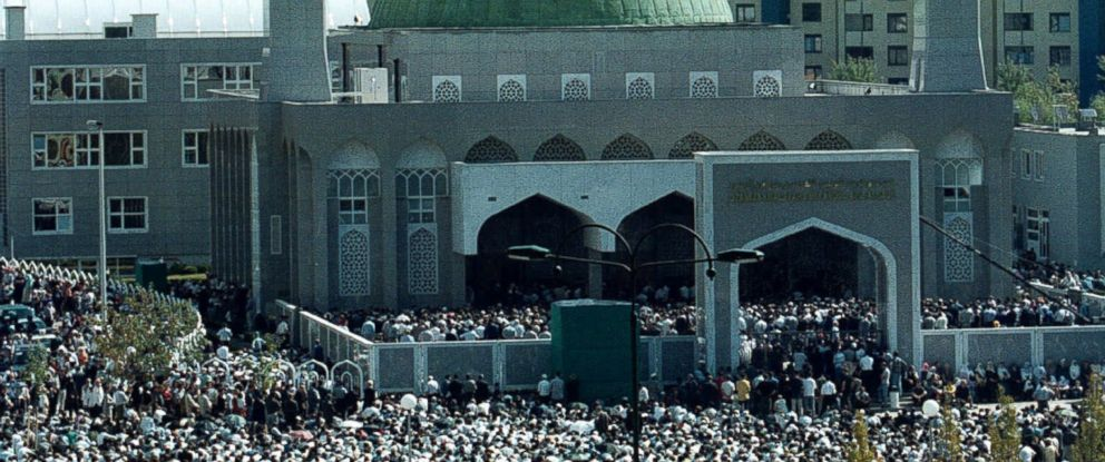 PHOTO: Worshippers gather at the King Fahd Mosque and cultural center, during the opening ceremony and the first Friday prayer in Sarajevo, in this Sept. 15, 2000, file photo.