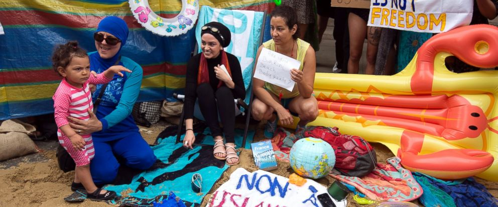 PHOTO: A woman wearing a burkini participates in a Wear what you want beach party protest outside of the French Embassy in London, Aug. 25, 2016.