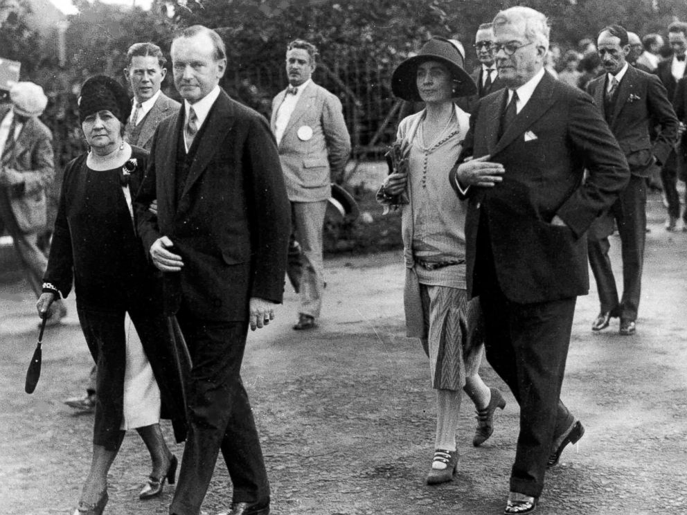 PHOTO: President Calvin Coolidge and his wife, first lady Grace Coolidge are shown with the President of Cuba General Gerardo Machado y Morales and his wife, Elvira Machado, walk on the estate of President Machado in Havana, Cuba, Jan. 19, 1928.