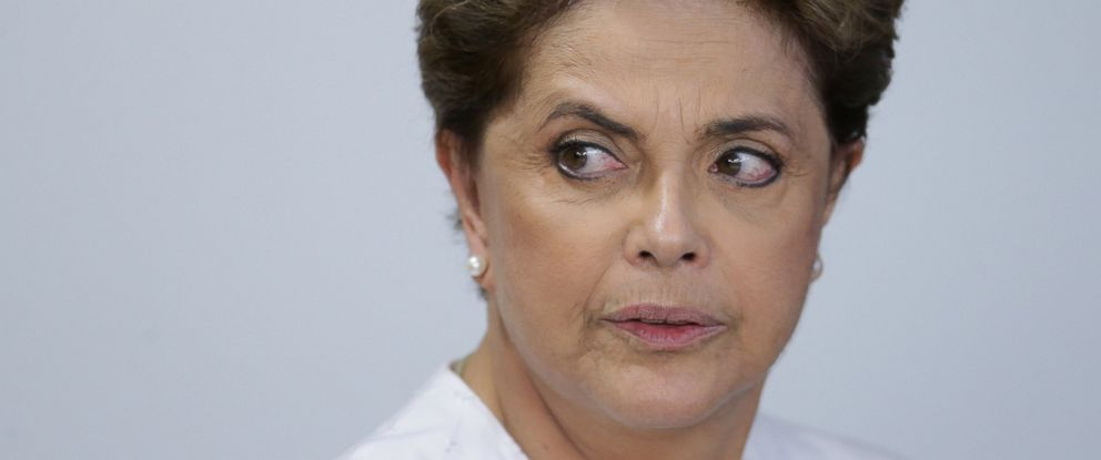 Brazils President Dilma Rousseff arrives for a meeting on state land issues, at Planalto presidential palace in Brasilia, Brazil, April 15, 2016.