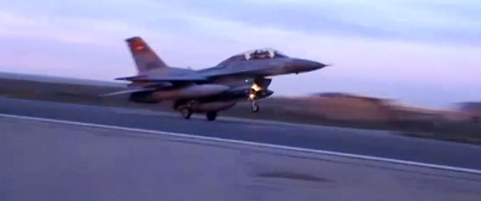 PHOTO: In this video image released by the Egyptian Defense Ministry, an Egyptian fighter jet lands in Egypt, Feb. 16, 2015.