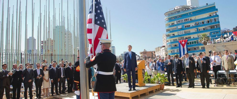 PHOTO:Secretary of State John Kerry, and other dignitaries watch as U.S. Marines raise the U.S. flag over the newly reopened embassy, Aug. 14, 2015, in Havana.