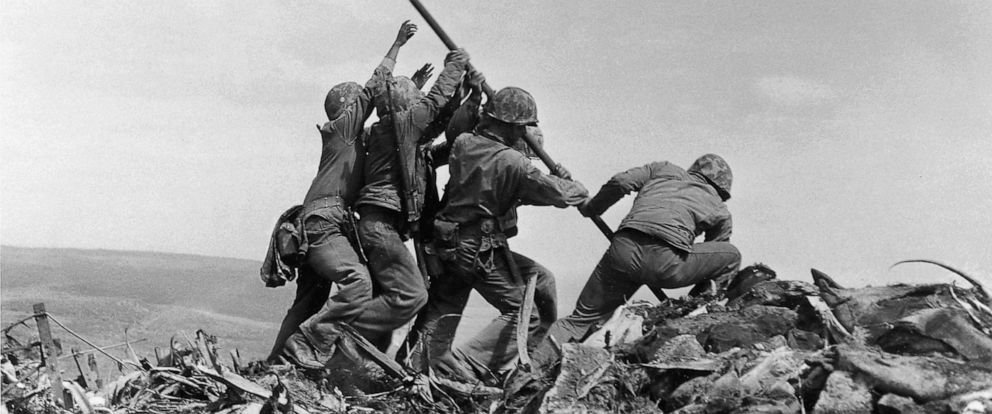 PHOTO: In this Feb. 23, 1945 file photo, U.S. Marines of the 28th Regiment, 5th Division, raise a U.S. flag atop Mount Suribachi, Iwo Jima.