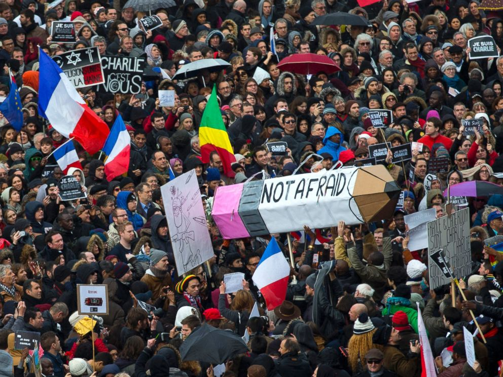 PHOTO: The crowd gather at Republique square in Paris, France, Sunday, Jan. 11, 2015.