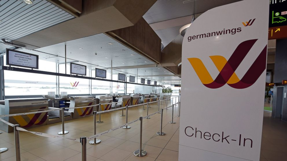 In this Oct. 16, 2014 file photo a counter  is seen of German airline Germanwings at the airport in Cologne, Germany.