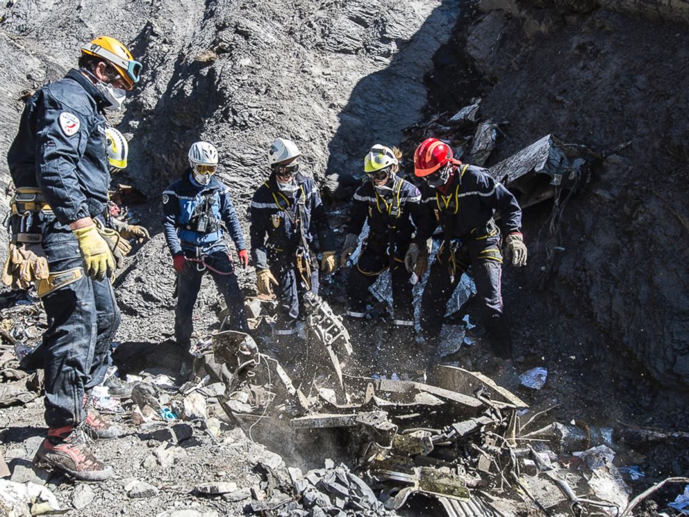 PHOTO: French emergency rescue services work among debris of the Germanwings passenger jet at the crash site near Seyne-les-Alpes, France in this March 31, 2015 file photo.