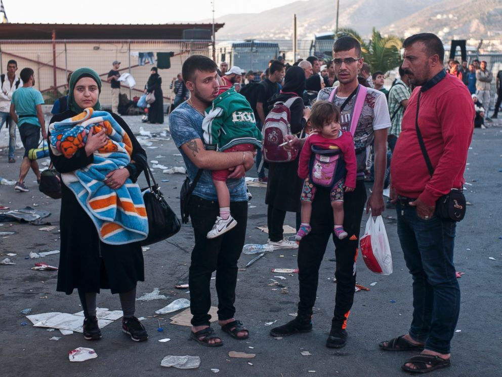 PHOTO: Refugees wait for a registration procedure at the port of northeastern Greek island of Lesbos, Greece, Sept. 5, 2015.