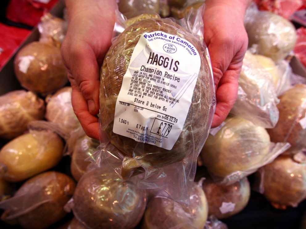 PHOTO: Haggis, a traditional Scottish food, on display before Burns Night celebrations in this Jan, 23, 2009 file photo.