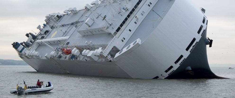 Drone Captures Tilting Ship Off England Coast - ABC News