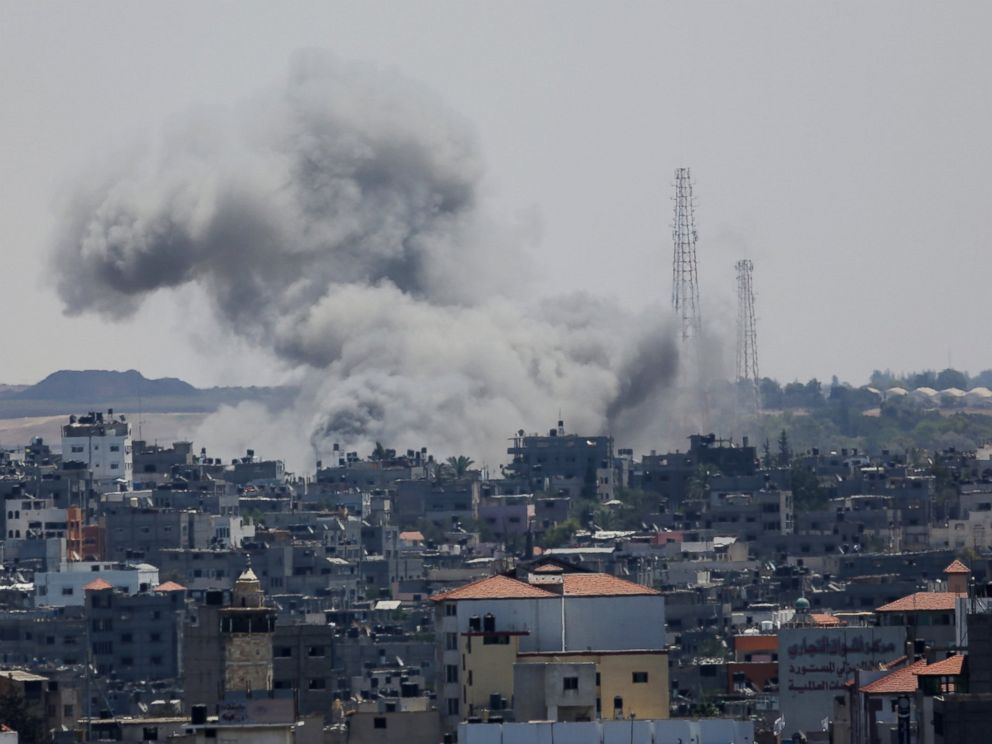 PHOTO: Smoke rises after an Israeli missile strike in Gaza City, July 18, 2014.