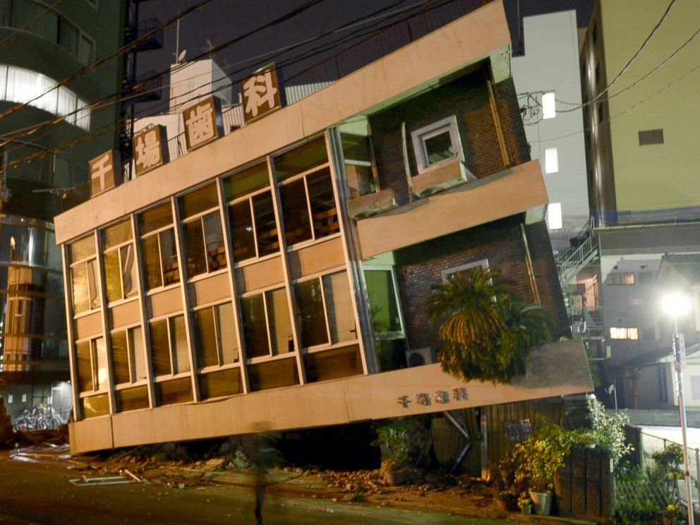 PHOTO: A severely damaged dentist office leans to one side following an earthquake, April 16, 2016, in Kumamoto, Japan.