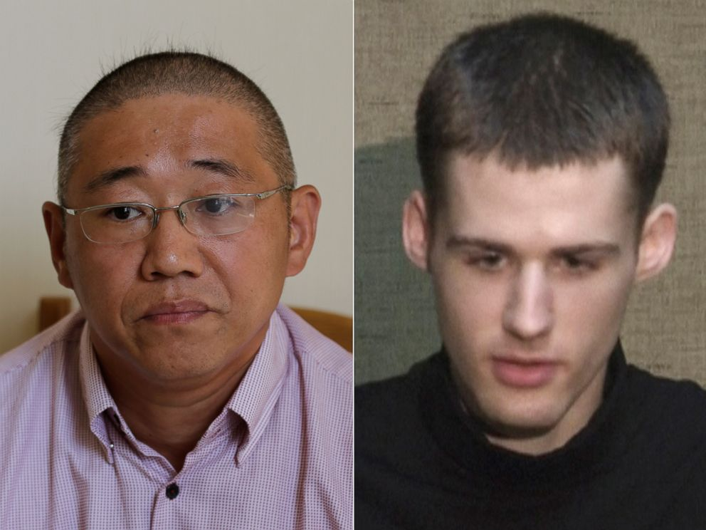 PHOTO: Kenneth Bae is seen Sept. 1, 2014 in Pyongyang, North Korea.   Matthew Todd Miller is seen at an undisclosed location in North Korea, Aug. 1, 2014.