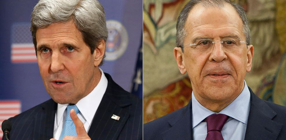 PHOTO: U.S. Secretary of State John Kerry, left, is pictured in Kiev, Ukraine on Mar. 4, 2014. Russian Foreign Minister Sergei Lavrov, right, is pictured in Madrid, Spain on Mar. 4, 2014.