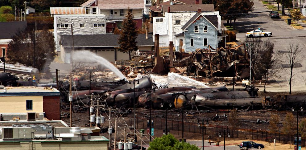 PHOTO: Wreckage is strewn through the downtown core in Lac-Megantic