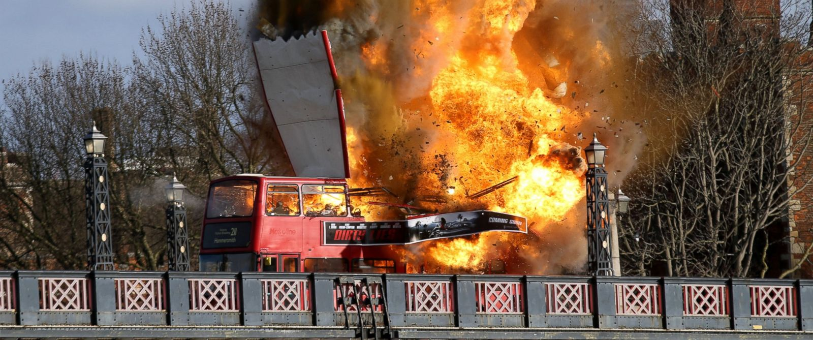 "PHOTO: A bus explodes on Lambeth Bridge, during filming for Jackie Chans new film ""The Foreigner"" in London, Feb. 7, 2016."