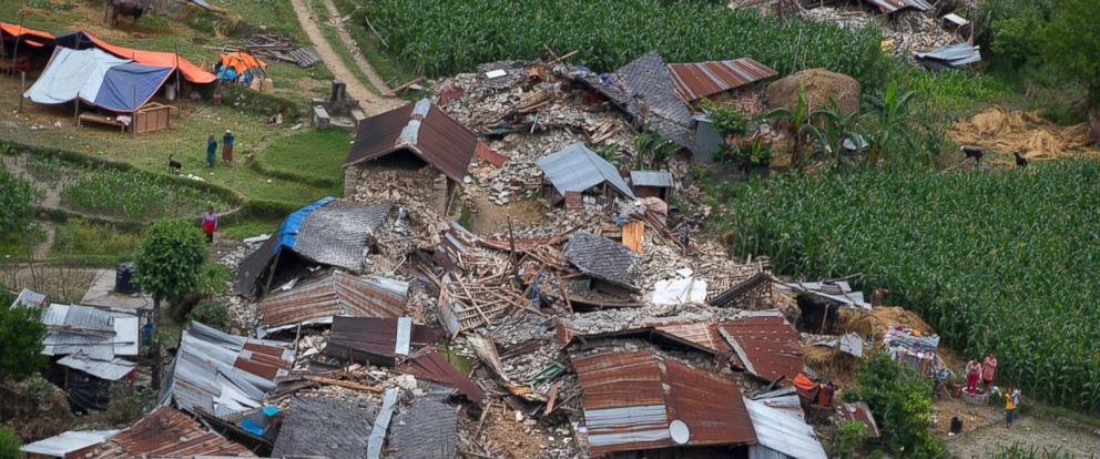 PHOTO: Houses destroyed April 25, 2015 during the earthquake are seen from a helicopter near Dhadingbesti, in Nepal, April 29, 2015.