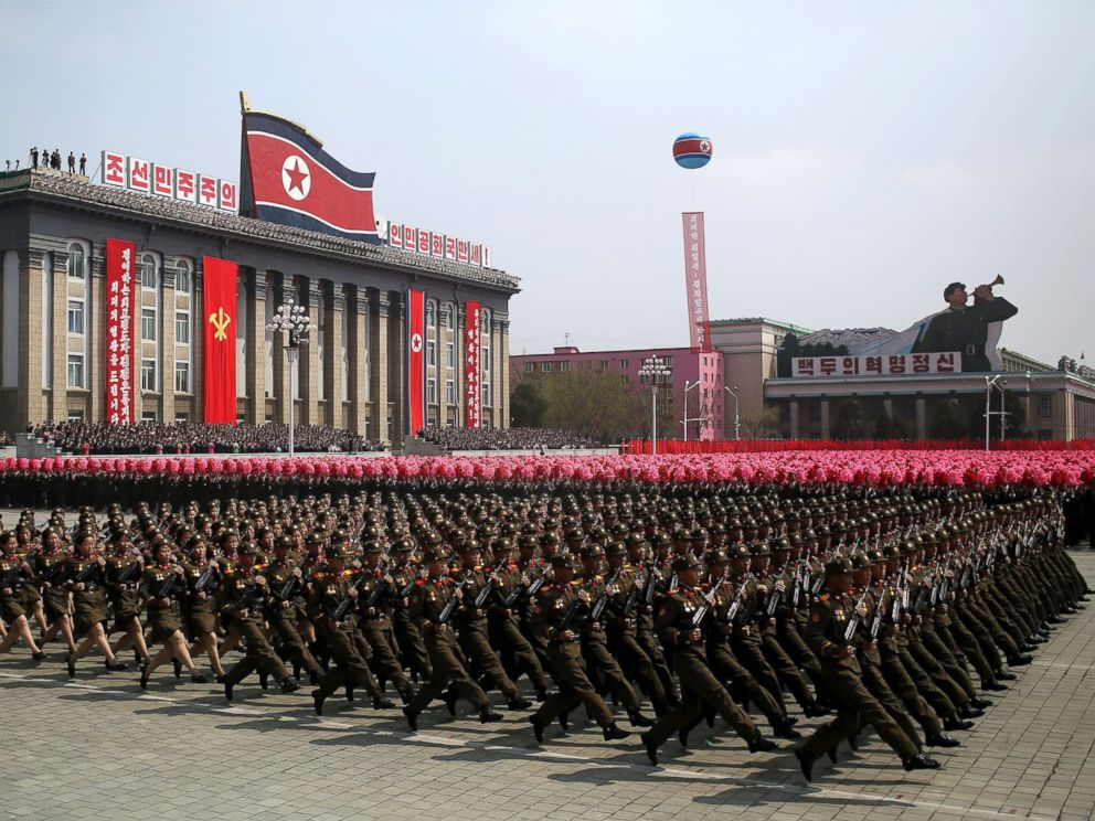 PHOTO: Soldiers march across Kim Il Sung Square during a military parade in Pyongyang, North Korea to celebrate the 105th birth anniversary of Kim Il Sung, April 15, 2017.