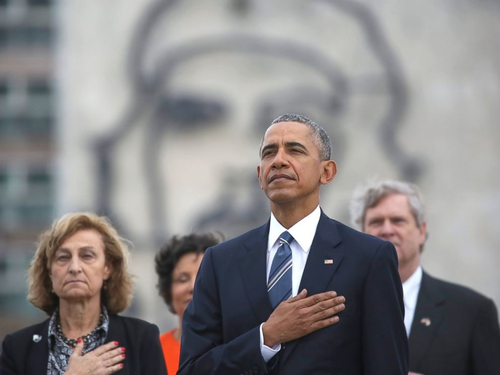 PHOTO: President Barack Obama listens to the U.S. national anthem during a ceremony at the Jose Marti Monument in Havana, Cuba, March 21, 2016.