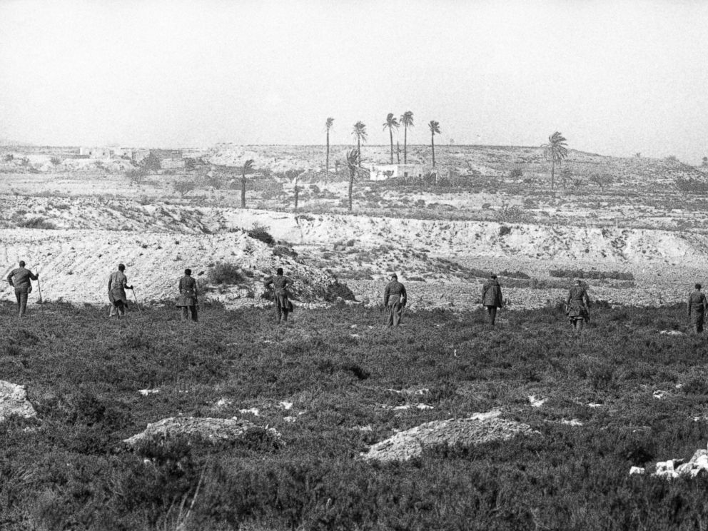 PHOTO:American troops searching fields in the outskirts of Vera, Spain on Feb. 11, 1966 as they retrace the land crash area, looking for the missing nuclear bomb, lost when a B52 bomber of the United States air force crashed last month.