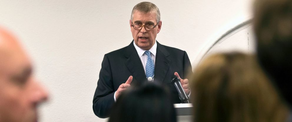 PHOTO: Britains Prince Andrew gestures as he speaks to business leaders during a reception at the sideline of the World Economic Forum in Davos, Jan. 22, 2015.
