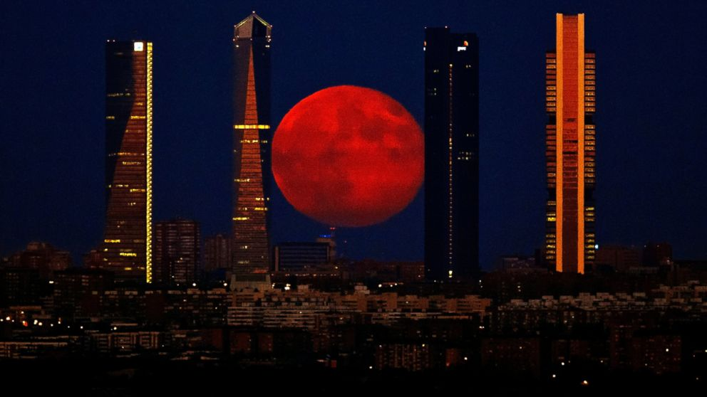 Bright Red Supermoon Glows Over Madrid