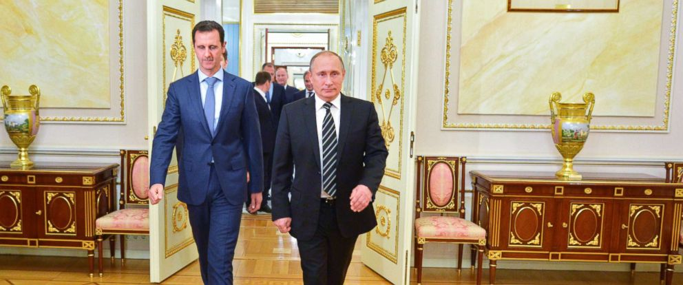 PHOTO:Russian President Vladimir Putin and Syria President Bashar Assad arrive for their meeting in the Kremlin in Moscow, Oct. 20, 2015.