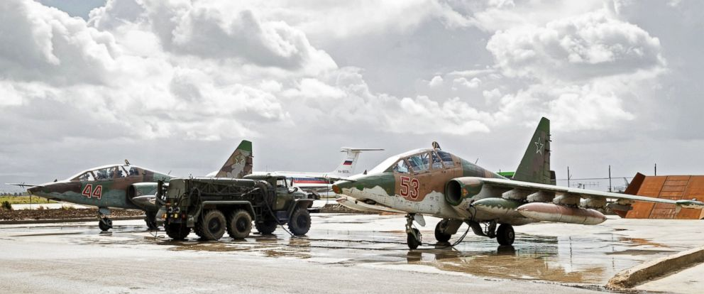 PHOTO: Sukhoi Su-25 ground-attack planes of the Russian Aerospace Forces prepare to depart from the Hmeimim airbase in Syria for their permanent location in Russia, March 15, 2015.