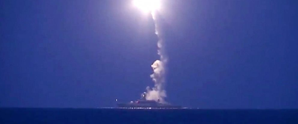 PHOTO: In this photo made from the footage taken from Russian Defense Ministry official web site, Oct. 7, 2015, a Russian navy ship launches a cruise missile in the Caspian Sea.