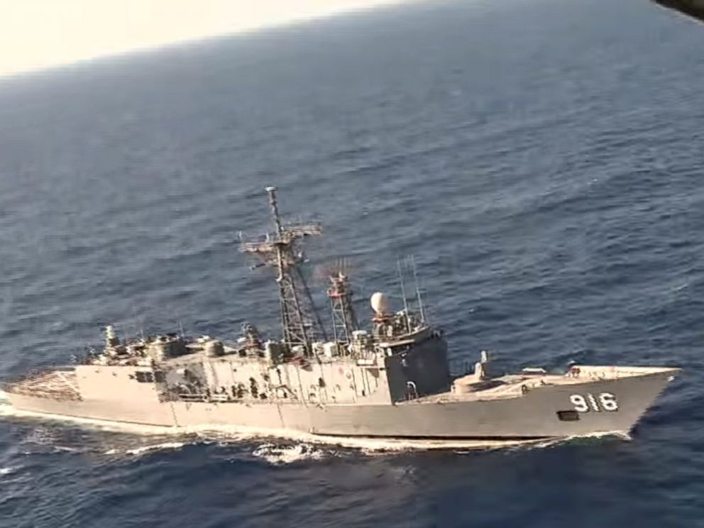 PHOTO: A video image released by the Egyptian Defense Ministry, an Egyptian plane flies over a ship during the search in the Mediterranean Sea for the missing EgyptAir flight 804 plane, May 19, 2016.