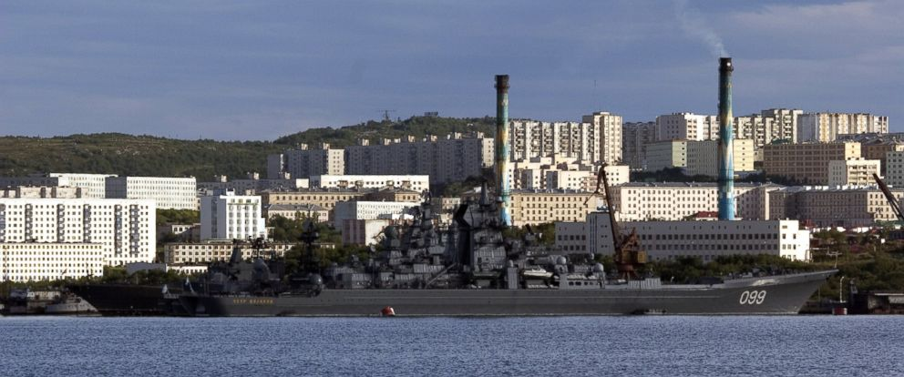 PHOTO: Warships of the Northern Fleet at the Russian Naval Infantry base at the harbour of Severomorsk, Russia are seen here, Aug. 4, 2005.