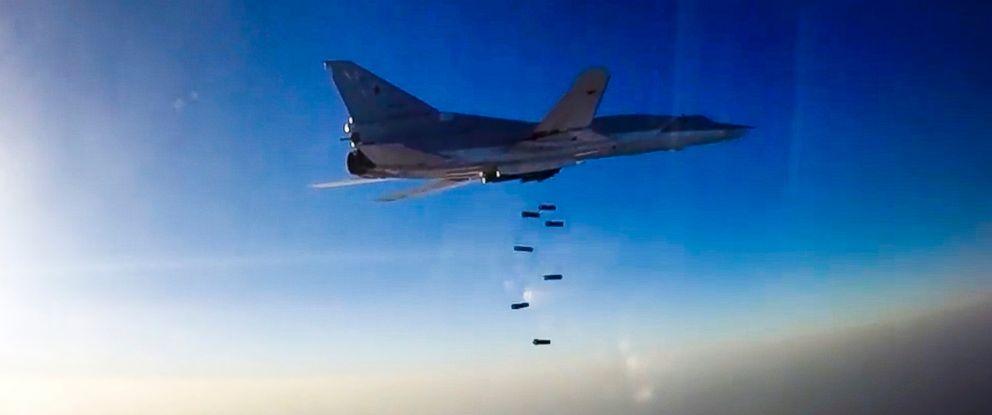 PHOTO: A Russian long range bomber Tu-22M3 flies during an air strike over Aleppo region of Syria, Aug. 16, 2016.